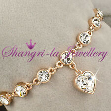18K GOLD GF Love HEART Dangle CHARM Wedding BRACELET with SWAROVSKI CRYSTAL L343