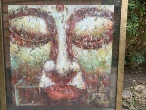 Original Buddha painting with gold flakes and floating frame (1320 x 1320)