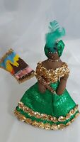 "Souvenir Brazilian Doll With Carnival Costume 10"" Tall"