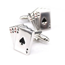 COPPIA Gemelli POKER SILVER BOY'S MEN'S Gemello Business Matrimonio Regalo UK STOCK