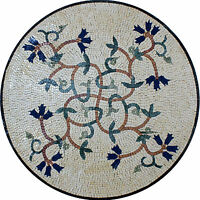 Round Medallion Home Floor Art Table Top Marble Mosaic MD1349