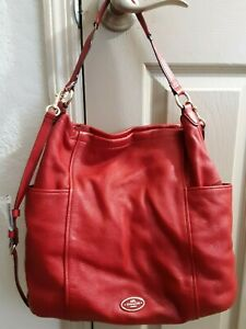 Coach hobo bag red pebble leather