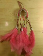 New listing Handmade Hot Pink Mini Hanging Headdress With Leather and Feathers!
