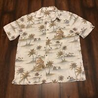 Batik Bay Hawaiian Aloha 100% Rayon Shirt Sz L Camp Tiki Hut Palm Beach Cruise