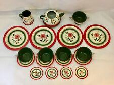 19 Piece Ohio Arts Child's Tin Litho Play Tea Set