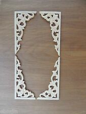 B.Carved Wood Panel 4pcs/set w/Triangle Flower