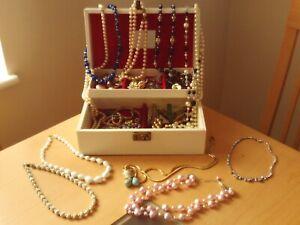 Vintage Job Lot of Mixed Costume Jewellery & Box.