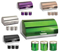 STEEL BREAD BIN & CANISTER SET LARGE METALLIC COLORS ROLL TOP KITCHEN STORAGE