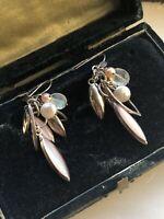Pretty Vintage Silver Pink Pearl, Mother Of Pearl, Labradorite Dropper Earrings