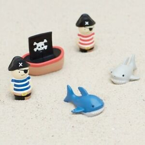 Mud Pie E0 Baby Boy Pirates and Sharks Bathtime Play Bath Toy 5pc Set 12130032