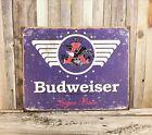 Budweiser Lager 1936 Beer Anheuser Busch Bud Blue Metal Tin Sign Vintage Pub Bar