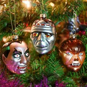 3  Monster Glass Ornament Set Christmas Halloween Vampire Werewolf  Frankenstein