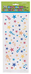 20 STARS & SWIRLS Cello Cellophane Party Childrens Candy Loot Gift Sweet Bags