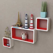 3mdf Floating Wall White With Red Detailing Display Shelf Cubes for Book Storage
