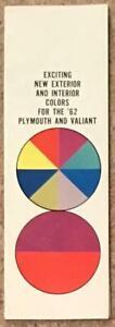 CHRYSLER USA Colour Chart 1962 PLYMOUTH Valiant