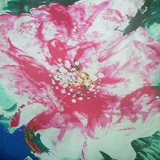 PURE SILK CHIFFON (HOT PINK HUGE FLOWER ON BLACK) PRINT BY THE YARD npc 36014