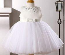 FLOWER GIRL DRESS BUTTERFLY WHITE  UK STOCK
