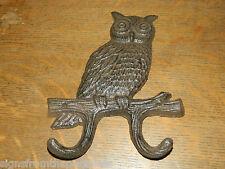 "7 1/2"" Rustic Cast Iron Owl Wall Mounted Double Coat Towel Key Hook ~NEW"
