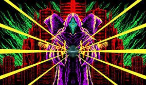 Ultraviolet Cyberpunk Backdrop Poster Neon UV Tapestry Postapocalypse Darksynth