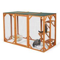 Wooden Cat Run House Outdoor Playpen Enclosure Animal Catio Cage w/ 3 Platforms