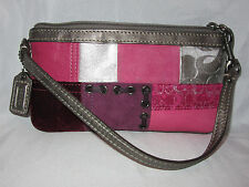 *MINT* COACH HOLIDAY PATCHWORK WRISTLET METALLIC LEATHER SUEDE PINKS 41942