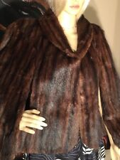 ❤️Vintage Rich Mahogany Sable Brown Real Fur Mink Stole Cape Wrap Coat M/L