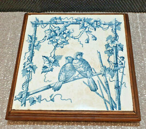 Antique Coaster Wood And Faience Deco Green Bluey Bird Nature