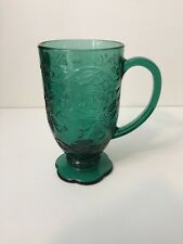 "Princess House Fantasia Emerald Green Glass Footed Mug, 6"" Tall x 3 1/4"" Dia"