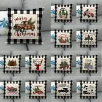 Xmas Truck Christmas Tree Animals Decor British Wind Pillow Case Cushion Cover