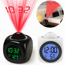 LED Digital Projection LCD Voice Talking Alarm Clock Time Temperature Projector