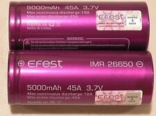 2 Authentic Efest IMR 26650 HIGH DRAIN 45A AMP Li-MN Battery 5000mAh Purple