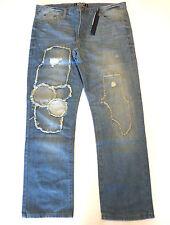 Brooklyn Xpress Mens 40X32 Rip Repaired Stitched Slim Straight Fit Jeans New