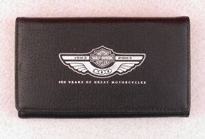 "Harley Davidson 100th Anniversary 6.5"" Leather Trifold Biker Checkbook Wallet"