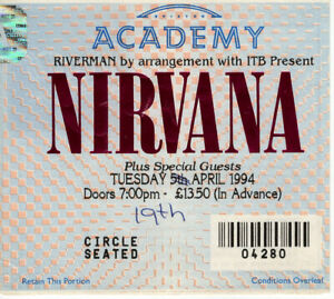 Nirvana Ticket Stub For The Cancelled Brixton Academy Show 5th April 1994