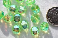 (15) Czech Glass Beads Fire-Polished 8mm 2-cut - Neon Green AB - 8FP2C-NGAB