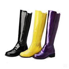 Women's Chunky Low Heel Zipper Side Zip Knee High Riding Boots Combat Size 34-43
