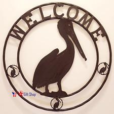 "METAL 24"" CIRCLE PELICAN WELCOME Home D?cor"