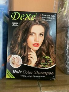 Dexe Brown Hair Shampoo 10 X 25ml Sachets Box Instant 5 Minutes Hair Color Dye