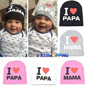 I Love MAMA/PAPA Knit Hat Kid Baby Infant Boy Girl Cute Soft Winter Beanie Cap.