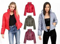 Womens Cropped Jacket Puffa Puffer Padded Quilted Warm Winter Fashion Coat Top