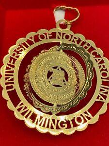 UNIVERSITY OF NORTH CAROLINA WILMINGTON CHRISTMAS GOLD PLATED ORNAMENT