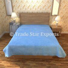 Twin Velvet Kantha Quilt Art Reversible Bedding Throw Indian Handmade Bedspread