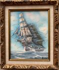 Original Oil painting on canvas, seascape, Sailing Ship, Signed, framed