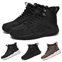 Men's Waterproof Leather Winter Hiking Boots Outdoor Snow Warm Fur Lined Shoes