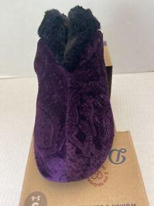 Dearfoams Women's Velour Bootie Slipper Small 5-6 Purple New In Box $32