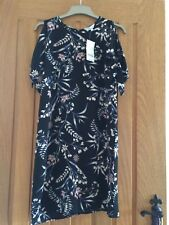 Pretty Floral Print Cold Shoulder Ladies Summer Dress Size 10 BNWT