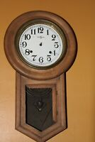 Vintage TRADE (S)  MARK  Key Wind Pendulum Striking Wall Clock For Parts  Repair