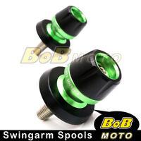 Rear Green 10mm Swingarm Spools Protector For Kawasaki NINJA 650R 05-13 14 15 16