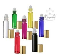 ROLL ON ESSENTIAL OIL BOTTLES WITH GOLD CAP EMPTY GLASS 10 ML PERFUME VIAL 1/3OZ