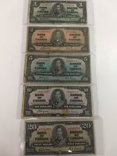 BANK OF CANADA 1937- $1 $2 $5 $10 $20 BANK NOTES SOME ARE GORDEN & TOWERS